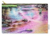 Fly Fishing In River At Sunrise Carry-all Pouch