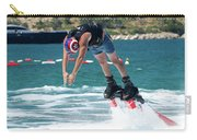 Flyboarder Bending Over To Dive Into Water Carry-all Pouch
