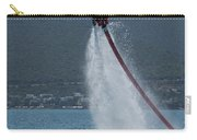 Flyboarder In Silhouette Balancing High Above Water Carry-all Pouch