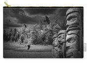 Flying Ravens And Totem Poles In Black And White Carry-all Pouch