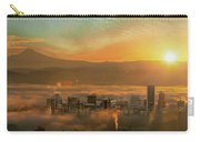 Foggy Morning Over Portland Cityscape During Sunrise Carry-all Pouch