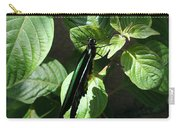 Folded Up - Green And Black Butterfly Carry-all Pouch