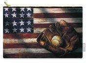 Folk Art American Flag And Baseball Mitt Carry-all Pouch
