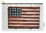 Folk Art American Flag On Wooden Wall Carry-all Pouch