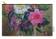 Forget Me Nots And Primulas In Glass Vase Carry-all Pouch