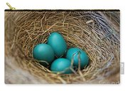 Four Robin Eggs In Nest Carry-all Pouch