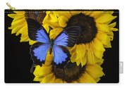 Four Sunflowers And Blue Butterfly Carry-all Pouch