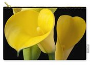 Four Yellow Calla Lilies Carry-all Pouch by Garry Gay