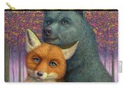 Fox And Bear Couple Carry-all Pouch