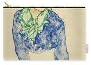 Frauenbildnis Mit Blauem Und Grunem Carry-all Pouch