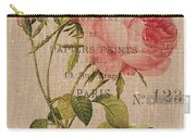 French Burlap Floral 2 Carry-all Pouch by Debbie DeWitt