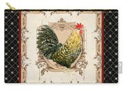 French Country Roosters Quartet Black 3 Carry-all Pouch