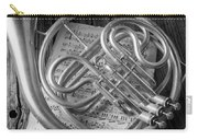 French Horn In Black And White Carry-all Pouch