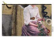 Frescoe Painting Of A Woman In Traditional Dress With Flowers Am Carry-all Pouch
