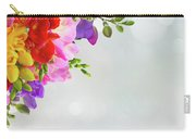 Fresh Freesia Flowers On Blue Carry-all Pouch