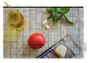 Fresh Italian Cooking Ingredients On Tile Carry-all Pouch