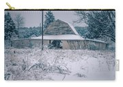 Fresh Snow Sits On The Ground Around An Old Barn Carry-all Pouch