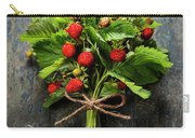 fresh Wild strawberries on wooden background  Carry-all Pouch