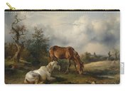 Friedrich Gauermann A Grey And A Chestnut In The Pasture  1825 Carry-all Pouch
