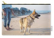 German Shepherd With Man On The Beach Carry-all Pouch