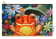 Frog And Flowers Carry-all Pouch