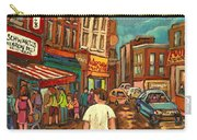 From Schwartz's To Warshaws To The  Main Steakhouse Montreal's Famous Landmarks By Carole Spandau  Carry-all Pouch by Carole Spandau