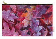 Frosted Red Oak Leaves Carry-all Pouch
