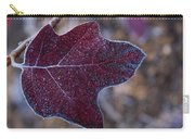 Frosty Maroon Leaf Carry-all Pouch