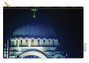 Full Moon Directly Over The Magnificent St. Sava Temple In Belgrade Carry-all Pouch