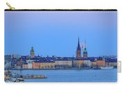Full Moon Rising Over The Trio Of Gamla Stan Churches In Stockholm Carry-all Pouch