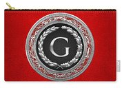 G - Silver Vintage Monogram On Red Leather Carry-all Pouch