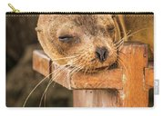 Galapagos Sea Lion Sleeping On Wooden Bench Carry-all Pouch