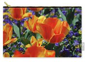 Garden With Blooming Yellow And Red Tulip Blossoms Carry-all Pouch