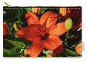 Garden With Lily Buds And A Blooming Orange Lily Carry-all Pouch