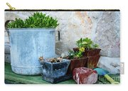 Gardening Pots And Small Shovel Against Stone Wall In Primosten, Croatia Carry-all Pouch