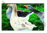 A Couple Of Friendly Geese And One Goose Ready For A Fight  Carry-all Pouch by Hilde Widerberg
