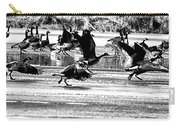 Geese On Ice Taking Flight Carry-all Pouch