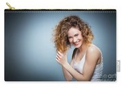Geniue Portrait Of A Young Positive, Smiling Girl. Carry-all Pouch