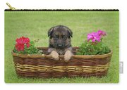 German Shepherd Puppy In Basket Carry-all Pouch by Sandy Keeton