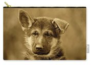 German Shepherd Puppy In Sepia Carry-all Pouch by Sandy Keeton