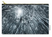 Giant Bamboo In Forest With Sunflare, Black And White Carry-all Pouch