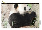 Giant Panda Bear Leaning Against A Tree Trunk Eating Bamboo Carry-all Pouch