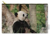 Giant Panda Bear Sitting Up Leaning Against A Tree Carry-all Pouch