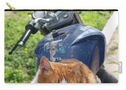 Ginger And White Tabby Cat Sunbathing On A Motorcycle Carry-all Pouch