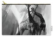 Giraffe Abstract Art Black And White Carry-all Pouch