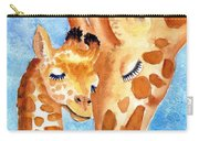 Giraffe Baby And Mother Carry-all Pouch