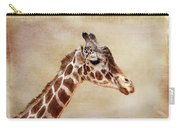 Giraffe Portrait With Texture Carry-all Pouch