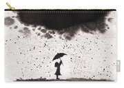 Girl And Ink Cloud Rain Carry-all Pouch