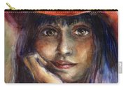 Girl In A Red Hat Portrait Carry-all Pouch