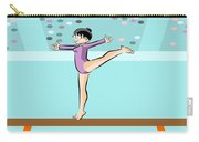 Girl Jumps On One Foot On The Balance Beam Carry-all Pouch